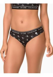 Calcinha Tanga Cotton Estampado Ck One - Preto - S