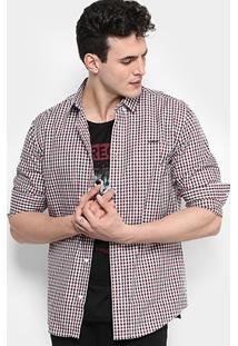 Camisa Colcci Ml Slim Fit Vichy Masculina - Masculino