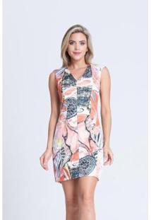 Vestido Clara Arruda Decote V Estampado Feminino - Feminino-Coral