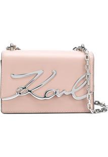 Karl Lagerfeld Bolsa Tiracolo 'Signature' - Rosa