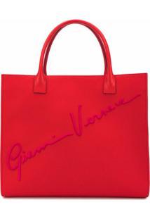 Versace Bolsa Tote Com Logo Bordado - Vermelho