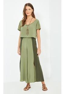 Calça Ateen Bicolor Seda - Feminino-Verde Militar