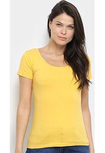 Blusa Calvin Klein Estampada Manga Curta Feminina - Feminino-Amarelo Escuro