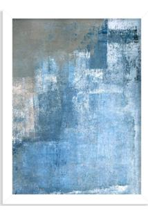 Quadro Decorativo Abstrato Textura Azul Branco - Médio