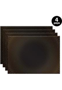 Jogo Americano Mdecore Abstrato 40X28Cm Preto 4Pçs
