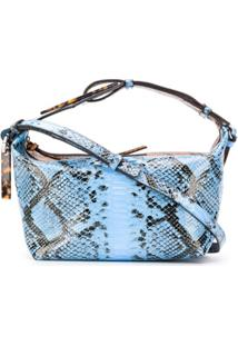 Ganni Snake-Effect Shoulder Bag - Marrom