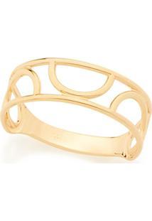 Anel Liso Com Detalhes Vazados Meio Círculo Rommanel - Feminino-Dourado