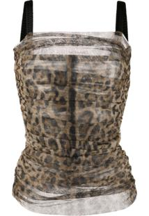 Dolce & Gabbana Animal Print Ruched Blouse - Marrom