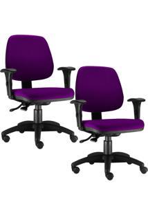 Kit Cadeiras Giratória Lyam Decor Job Roxo