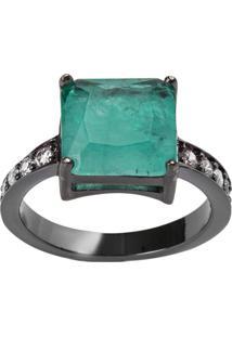 Anel Quadrado The Ring Boutique Pedra Cristal Turmalina Fusion Ródio Negro