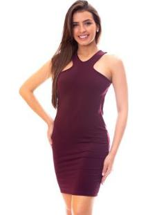 Vestido Moda Vicio Regata Com Detalhe Frente Feminino - Feminino-Vinho