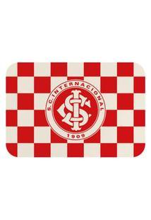 Tapete De Porta Oficial Do Internacional Escudo Vermelho E Branco 60X40Cm