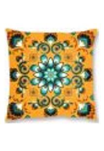 Capa De Almofada Veludo Floral 45X45Cm Laranja Decoração