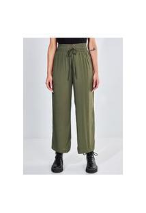 Calça Pantalona Com Elástico E Amarração