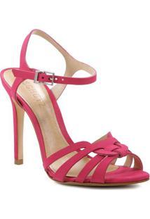 Sandália Tradicional Em Couro Com Tiras- Pink- Saltoschutz