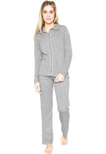 Pijama Cor Com Amor Liso Cinza