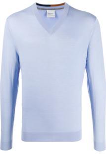 Paul Smith Suéter De Tricô Com Decote Em V - Azul