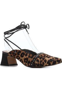 Scarpin Couro Shoestock Salto Médio Pelo Onça Bico Quadrado Cravos