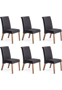 Conjunto Com 6 Cadeiras De Jantar Prime Preto E Imbuia