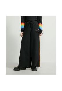 Calça Pantalona Em Moletom Com Detalhe Lateral Contrastante Pride
