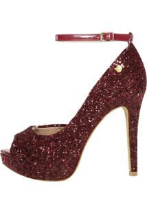 Peep Toe Meia Pata Week Shoes Glitter Glamuor Marsala Corte Lateral