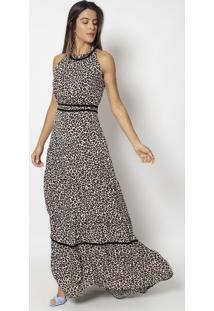 Vestido Longo Animal- Marrom & Preto- Nectarinanectarina