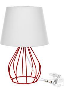 Abajur Cebola Dome Branco Com Aramado Vermelho - Branco - Dafiti