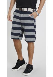 Bermuda Masculina Slim Listrada Com Cinto Azul Marinho