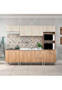 Cozinha Compacta Master Sem Tampo Cm03 Carvalho/Blanche - Fellicci