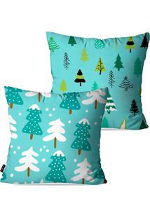 Kit Com 2 Capas Para Almofadas Pump Up Decorativas Árvores Simbolo Do Natal 45X45Cm