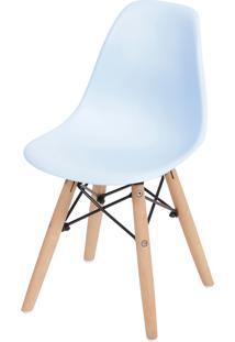 Cadeira Dkr Polipropileno E Base De Madeira Lawang – Azul Claro