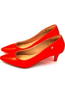 Scarpin Salto Baixo Love Shoes Bico Fino Verniz Neon Laranja