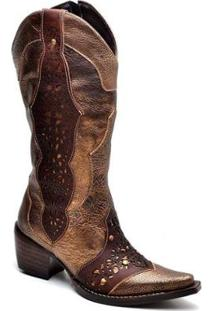 Bota Top Franca Shoes Country - Feminino-Café