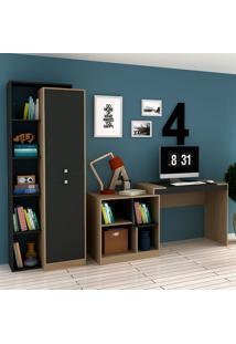 Escrivaninha E Estante Com 2 Portas Para Escritório-Ho-2966-Hecol - Avela / Onix