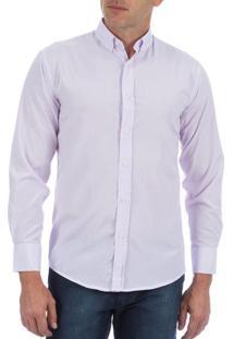 Camisa Social Masculina Lilás Listrada - 05