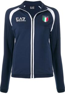Ea7 Emporio Armani Jaqueta Com Estampa Italia - Azul