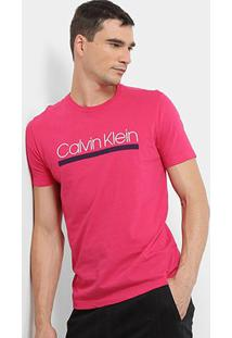Camiseta Calvin Klein Slim Estampa E Lis Masculina - Masculino-Rosa Escuro