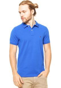 Camisa Polo Tommy Hilfiger Bordado Slim Fit Azul