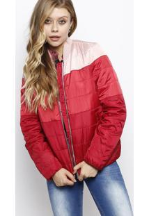 Jaqueta Em Matelassê Com Bolsos- Rosa Claro & Vermelha