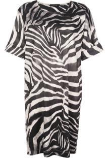 Natori Vestido Midi Com Estampa De Zebra - Cinza