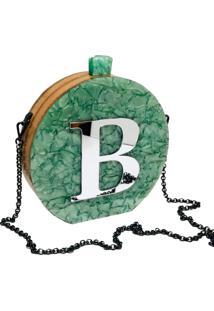 Bolsa Clutch Vip Green Inicial Personalizada - Verde - Feminino - Dafiti