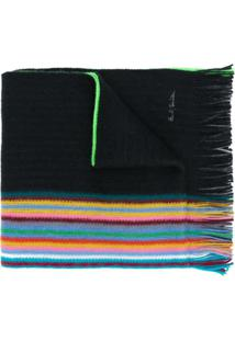 Paul Smith Cachecol Listrado - Preto