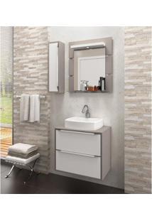 Gabinete Para Banheiro Suspenso Com Espelheira Nicho E Cuba Ravena 60Cm Branco Supremo/Connect