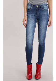 863471b0d Calça Jeans Feminina Super Skinny Com Ilhós Azul Escuro