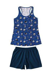 Pijama Curto Regata Cachorrinhos Malwee Liberta (1000059793) Marinho - 100% Algodão
