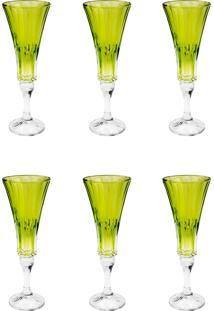 Conjunto Rojemac 6 Taças De Cristal Ecológico Para Champagne Wellington Lime Verde - Tricae