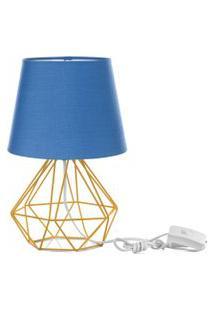 Abajur Diamante Dome Azul Com Aramado Amarelo