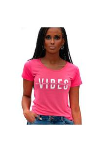 Camiseta Miss Glamour Store Vibes Positive Rosa Chiclete