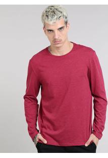 Camiseta Masculina Básica Gola Careca Manga Longa Vinho