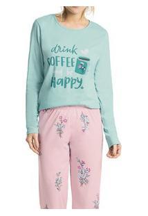Pijama Longo Floral Malwee Liberta (1000052441) 100% Algodão